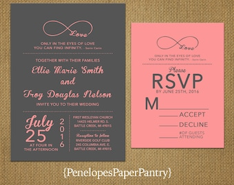 Coral And Navy Laser Cut Wedding Invitations Pocket Style