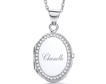 """Personalised Sterling Silver 16""""-18"""" Micro Pave Cz Border Oval Locket 2.2cm x 1.7cm"""