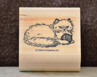 Cat Rubber Stamp/Long Hair Cat Rubber Stamp/Vintage Stampin Up Mini Cat Stamp/Wood Mounted Rubber Stamp/Gift Tag Stamp/1995