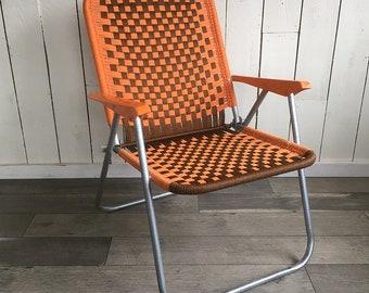 Vintage Macramé Lawn Chair with Retro Orange & Brown Checks - Retro Patio Chair