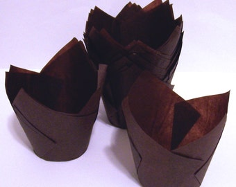 24 Brown Tulip Cupcake Liners