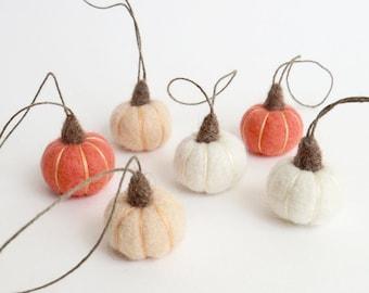 Pink pumpkin ornaments : miniature needle felted pumpkins - peach, white, coral pink pumpkins, autumn chic decor
