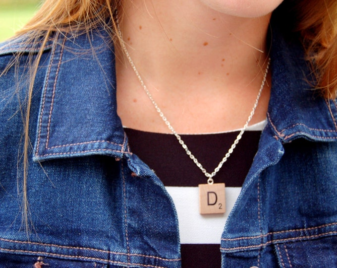 Custom Scrabble Tile Initial Necklace.