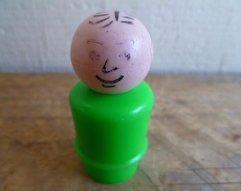 Vintage Fisher Price Little People Green Man Grandfather