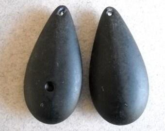 Large black teardrop beads pendant Matte black drop bead , plastic acrylic Vintage Beads, 2