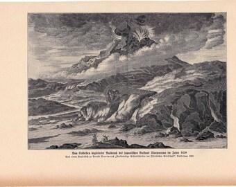 1900 VOLCANO ERUPTING PRINT - volcano scene in japan - original antique print - volcano print