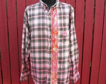 Pink OMBRE Flannel Shirt with Lace - Say Anything Boom Box - Country Altered Festival Clothing - Large
