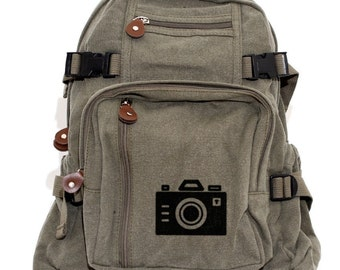 SALE! Camera Backpack Bag, Canvas Backpack Rucksack, Iconic Camera, Travel, Small Weekender Bag, Gift for Women, Gift for Men, Traveler