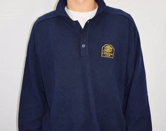 Vintage 70's Men's Navy Blue Speedway Club Racing Sweater by La Mode Size Large