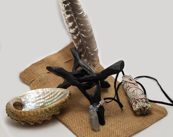 SALE! OSTARA: Shaman Ritual Cleanse Kit - Sage Stick, Sea Shell, Feather, Crystal Necklace, Wooden Stand