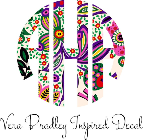 Vera Bradley Inspired Circle Monogram Iron On Decal