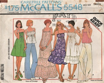 McCall's 5548 Summertime Tops or Sundresses, Strapless circa 1977 Size Small 10-12