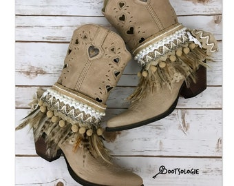 Custom reworked festival boho cowboy boots -western boots. Leather boots. Custom boots. Wedding boots.