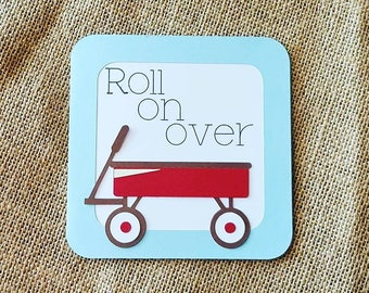 Little red wagon party invitation - birthday party - little red wagon - red wagon - invitations
