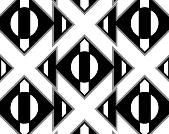 Black & White Geo by Fabric Editions - Triangle Stripe - Cotton Woven Fabric
