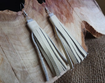 Beautiful cream real leather tassel style drop earrings - dangly / hook / silver plated
