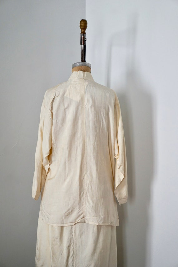 asymmetric Jacket and pocket skirt Silk pleated Cream embroidered Hq5Sz