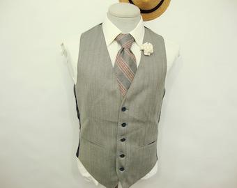Vintage Reversible 1940's Plaid Brown Beige Wool Vest Mens Suit Vest Waistcoat Mens vest waistcoat / Size 40 / Medium / M 0jgg2gjQ