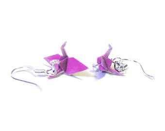 "Origami Crane earrings Miniature 3/4""   Light Purple"