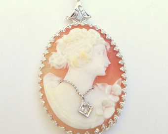 SALE, Antique Cameo,Carved Shell,Diamond Necklace, New Sterling Silver Setting,Victorian Hand Carved Cameo,OOAK