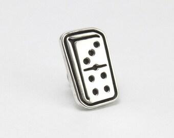 Sterling silver lapel pin / Domino tie tack / Urban jewelry.