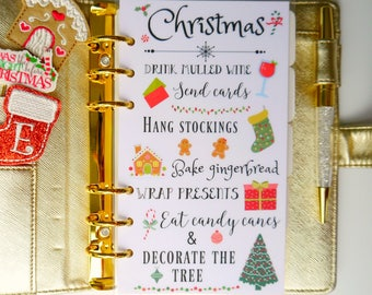 Christmas Seasonal Personal, A5, A6, B6 and Pocket Size Planner Dashboard