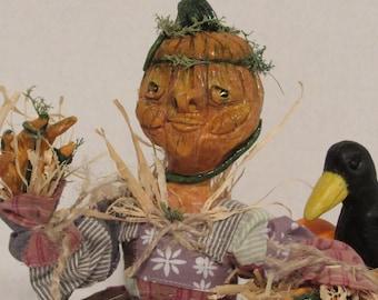 "OOAK 12"" Pumpkin Scarecrow, Handmade Art Doll, Primitive Art Decor, Autumn Decor, by ds hahn"