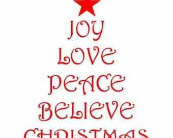 Christmas Tree Shape with Christmas Words, Joy, Love, Peace, Believe, Christmas