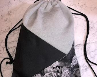 Gymnastic bag Backpack black ' n ' Roses-grey/canvas/artificial leather/blue/black/flowers/Patchwork