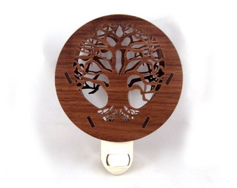 Tree of Life Wooden Night Light - Sustainably Harvested Walnut Wood Nightlight