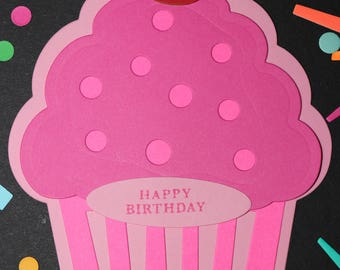 Pink Cupcake Birthday Card, Happy Birthday Card, Die Cut Cards, Die Cut Paper, Enjoy Your Day, Thank You, A Note, Cupcake Card