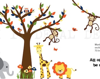 Jungle Decals, Jungle Wall Decals, Nursery Wall Decal, Giraffe, Elephant, Lion, Zebra, Four Monkeys, XXXL True Jungle Design