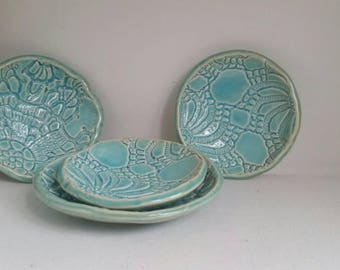 Sea Green Handmade Ceramic Spoon Rest and Jewelry Dish