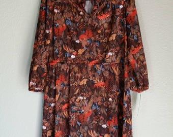 1970's Long Sleeve Animal Print Dress, Hand Sewn, Polyester, Size M/L,  #60267