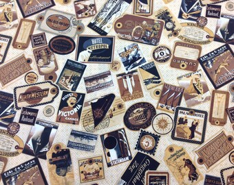 Wilmington Print Fabric TransAtlantique Tags Cream Bkg 1 yard