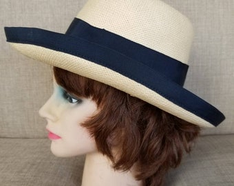 Vintage Women's Broad Brimmed Straw Hat wIth Black Ribbon