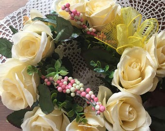 Center piece Cream colored flowers   with yellow bow and mess   Handade in usa    Soft gentle look  272
