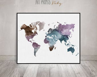 Travel map, Large World Map, watercolor world map, Wall art, world map poster, Map painting, watercolor print, Home decor, ArtPrintsVicky.