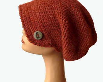 Women's Beanie Hat, Beret Hat, Newsboy Hat, Chunky Winter Hat, Crochet Hat, Womens Winter Hat, Rust Newsboy Hat, Natural Fiber