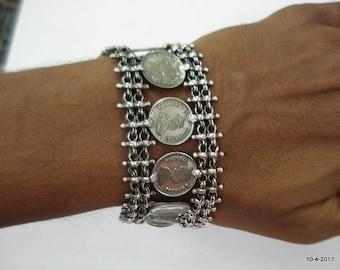 Traditional Design Sterling Silver Bracelet coin Bracelet Cuff jewellery