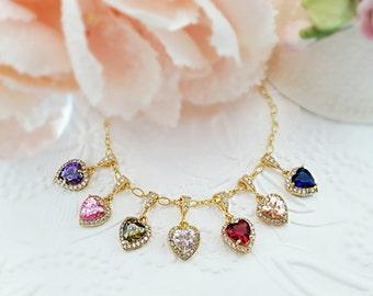 Gold Heart Necklace Dainty - Birthstone Heart Necklace - CZ Heart Necklace - Red Heart Necklace - Romantic Girlfriend Gift - Valentine N2424