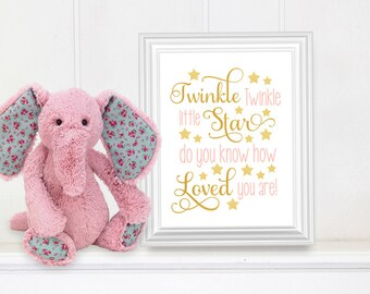 Twinkle Twinkle little star do you know how loved you are // Nursery Art // Nursery Quote // Baby Wall Art // Printable 8x10 Download - PINK