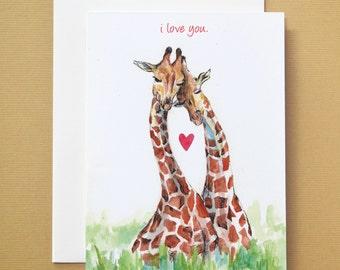 I love you Giraffe Watercolor Card
