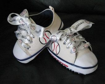 Adorable custom handpainted infant baseball shoes