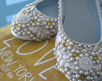 Buttercup Bridal Ballet Flats Wedding Shoes - Any Size - Pick your own shoe color and crystal color
