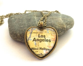 Los Angeles Heart Map Necklace, Heart Pendant with Chain,  Los Angeles Keychain, City Map Necklace, Going Away Gift, Bronze or Silver