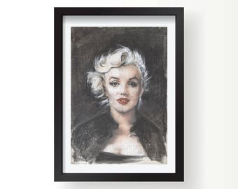 Marilyn Monroe signed art print.