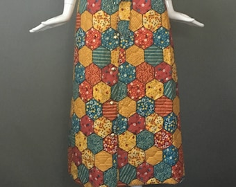 Darling Vtg 60s Hippy Quilted Maxi Skirt Elasticized Waist Attached Sash Tie Belt Buttons Up Front Mint XS S