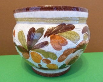 Made in Italy, Pottery, Planter, Brown, Orange, Green, Yellow, Colors of Fall