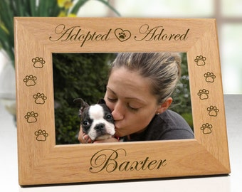 Dog Frame - Adopted Adored Pet Rescue Picture Frame  - Custom Personalized With Name